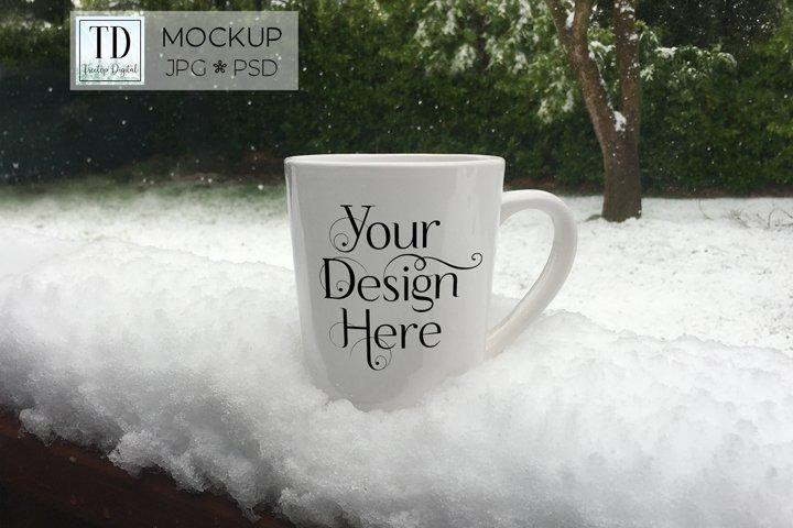 Mug Mockup in Snow, A Winter Cup Mock-Up PSD & JPG Mock Up