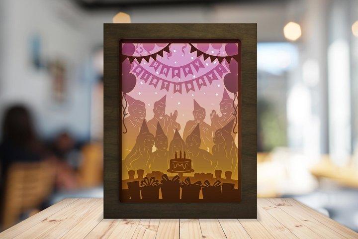 Happy Birthday 3D Paper Cutting Light Box - Shadow Box
