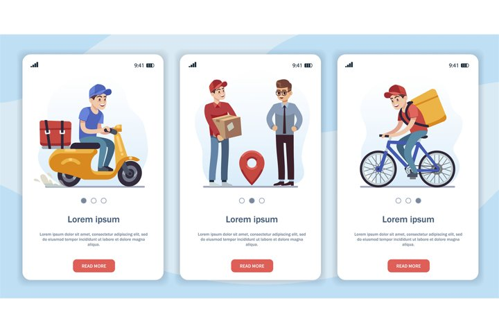 Template for mobile app page with delivery theme. Flat carto