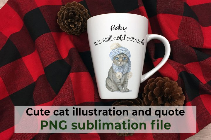 Baby its cold outside, cute cat in a hat and quote PNG file
