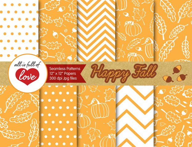 Saffron Yellow Fall Digital Paper Autumn Background Patterns with acorns, leafs and pumpkins