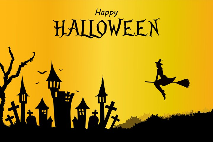 Happy halloween background gradient witch on broomstick