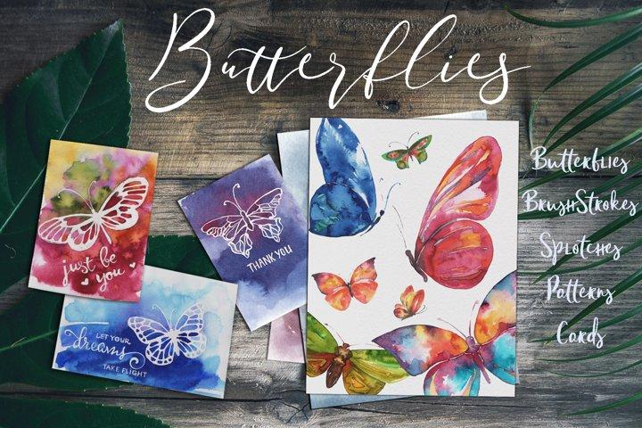 Watercolor Butterflies. Cards. Patterns