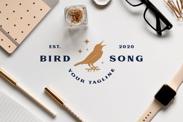 Modern elegant animal logo design of two golden birds