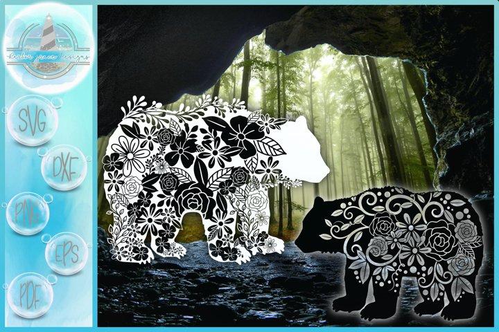 SVG Floral Bear Mandala Zentangle Mini SVG Bundle