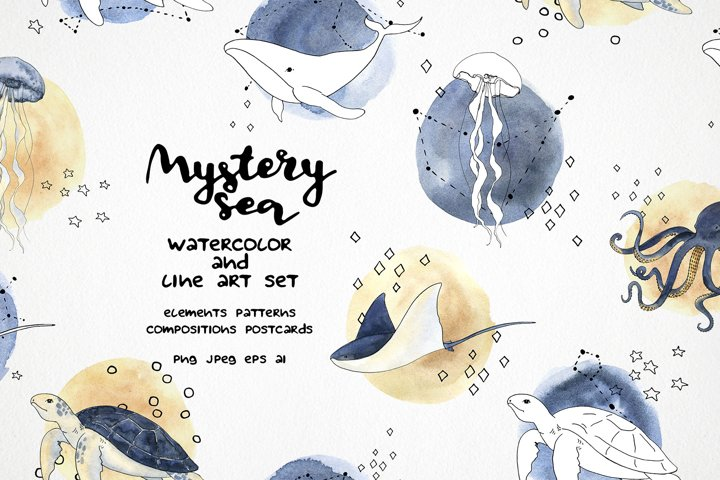 Mystery sea clipart. Watercolor and vector line art set