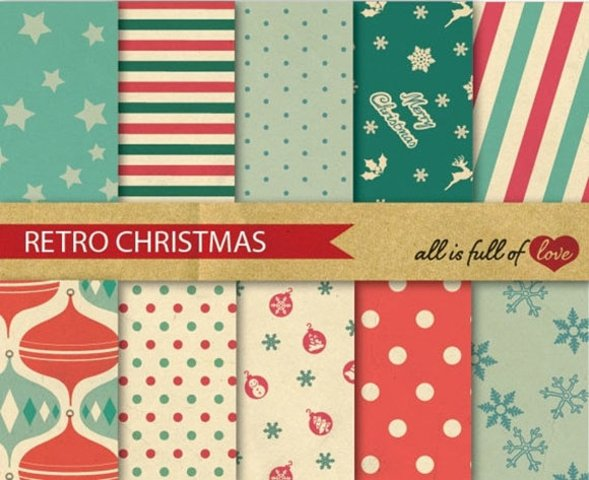 Retro Christmas Digital Paper Xmas Decor Background Patterns in red and green Vintage style