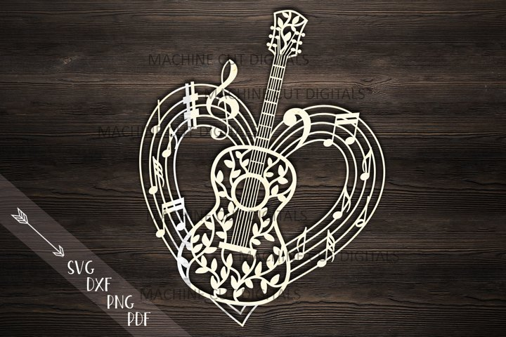 Guitar musical heart shape svg dxf laser cut out template