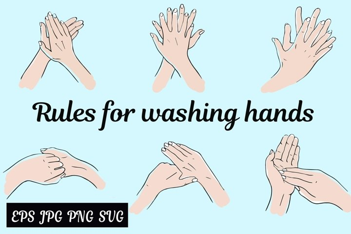 Rules for washing hands.Cleaning your hands.SVG.PNG.EPS