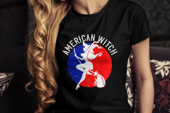 Halloween American Witch T-Shirt Design