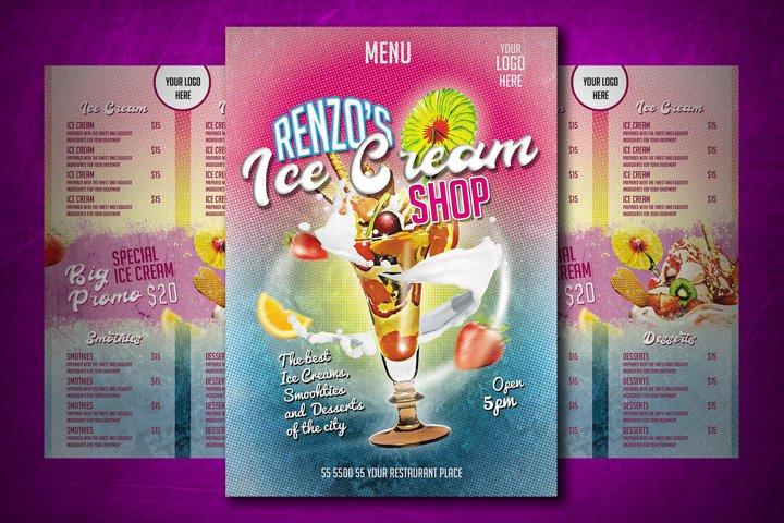Ice Cream Shop Menu, Menu Template for Ice Cream