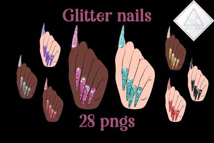 Glitter Nails Clipart