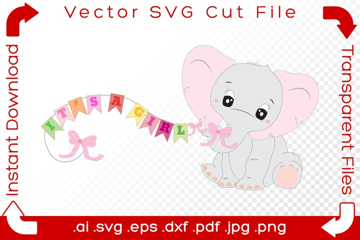 Cute Elephant Baby SVG - Its A Girl, Pink Ribbons Cut File