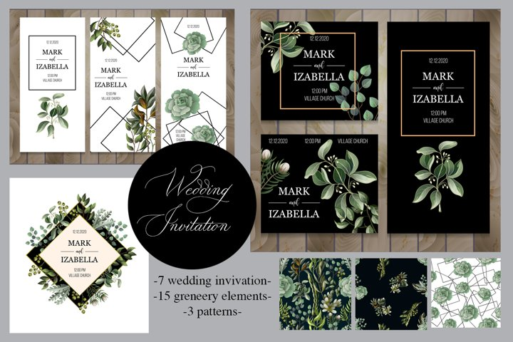 Wedding greenery invitation, patterns and isolated elements