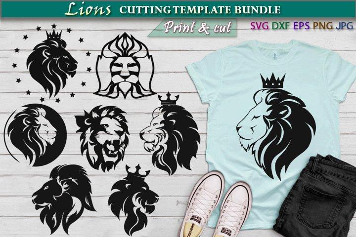 Lions Cutting SVG Template Bundle