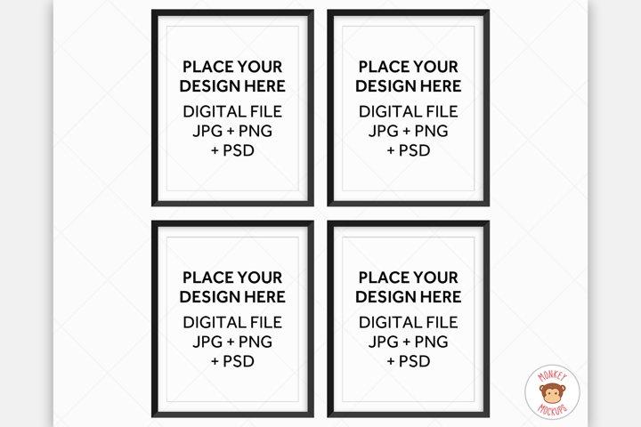Four Black Frames Mockup, Poster Mockup for Wall Art