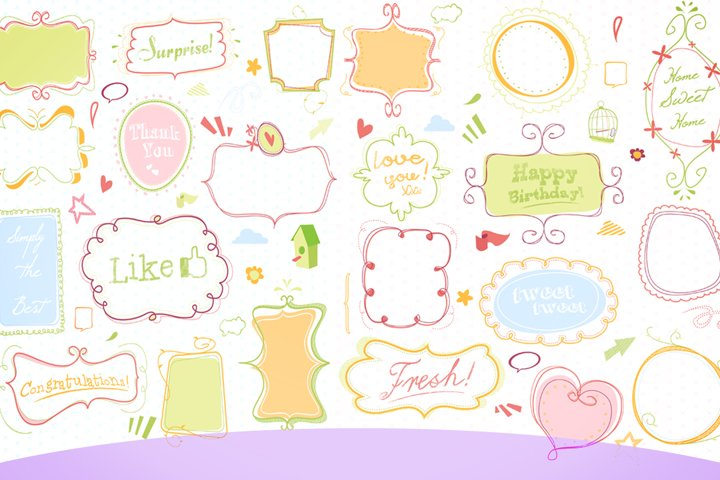 cute doodle clip art pack white/colored