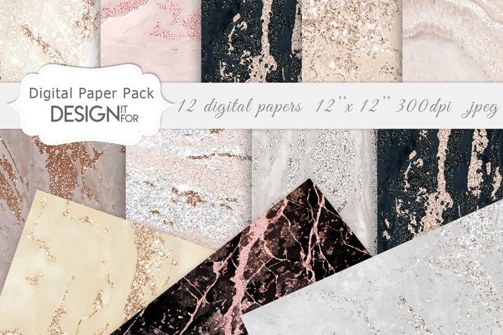 Rose Gold Marble Digital Paper, Nude marble textures, Marble