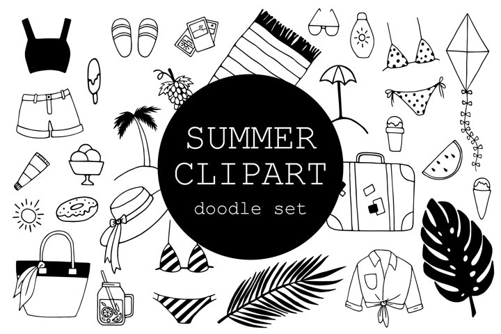 Summer Doodle Clipart Set - 28 hand drawn elements