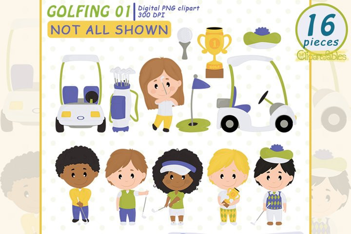 Cute GOLF Clipart, cute Golfing design - INSTANT download