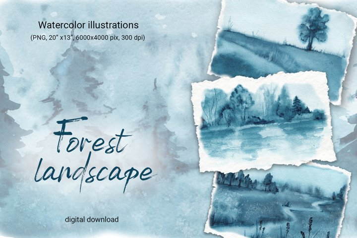 Forest landscape, nature scenes watercolor background
