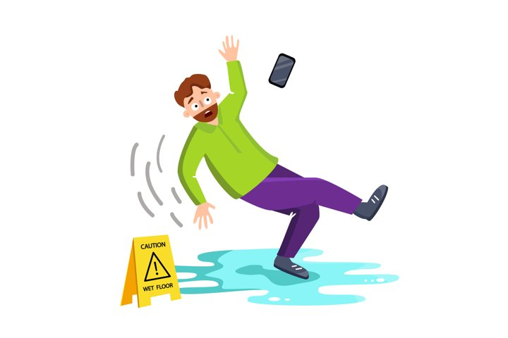 Man Falling On Wet Floor Near Caution Sign Vector