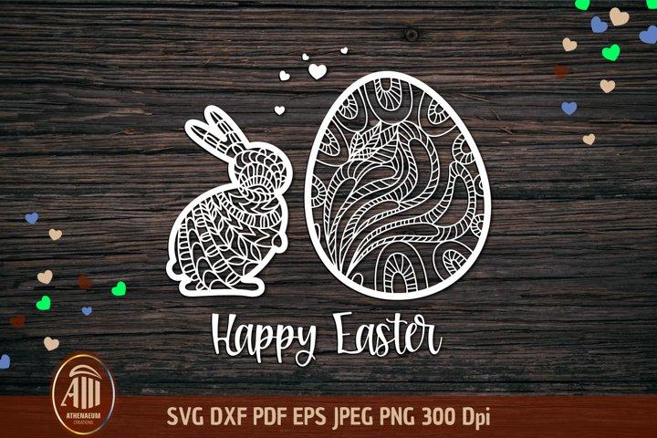 Papercut Happy Easter SVG|Easter bunny SVG|Easter egg SVG
