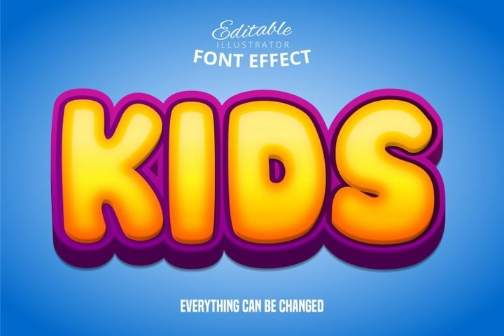 Kids text, editable text effect