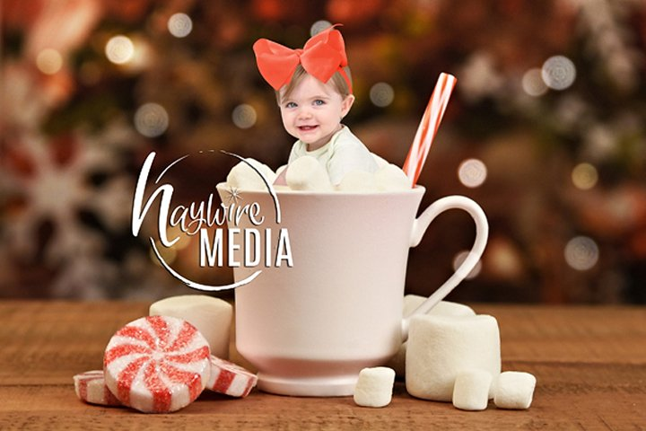 Hot Cocoa Cup Baby Christmas Portrait Digital Photo Template