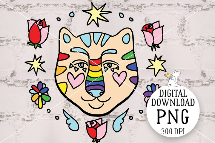 Tiger LGBT, LGBTQ Pride, Sublimation design, Rainbow