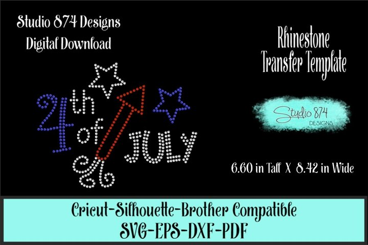 4th of July Rhinestone SVG Transfer Template - Fourth