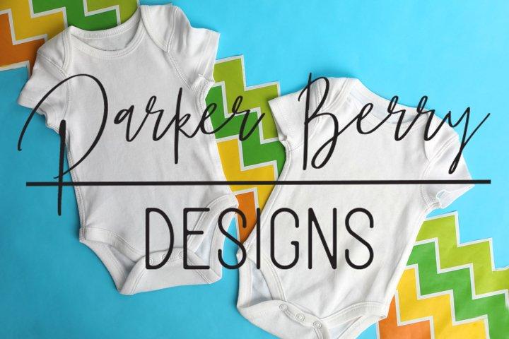 White Twin Baby Bodysuit Mock up, Digital Download, designs