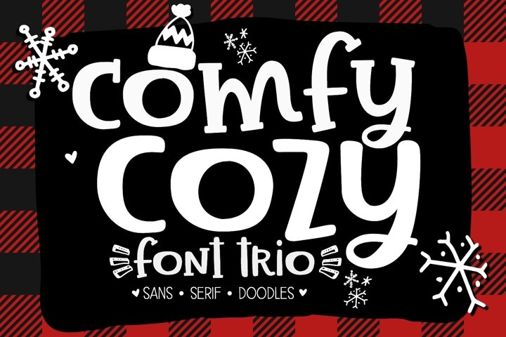 Comfy Cozy Font Trio- Sans, Serif & Doodle Font Bundle