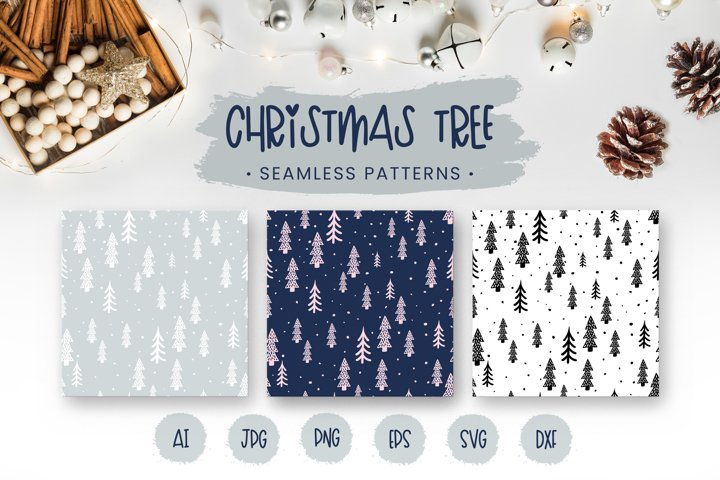 Christmas Tree digital paper Christmas seamless patterns SVG