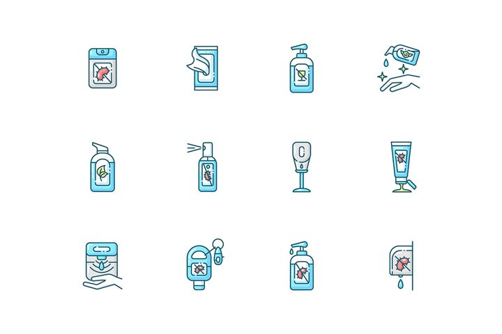 Sanitizer types blue RGB color icons set example