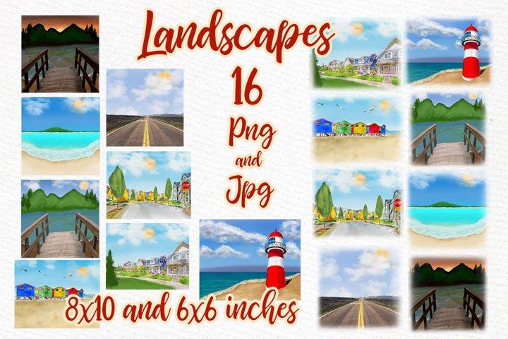 Summer Landscapes clipart Beach landscape Mug templates
