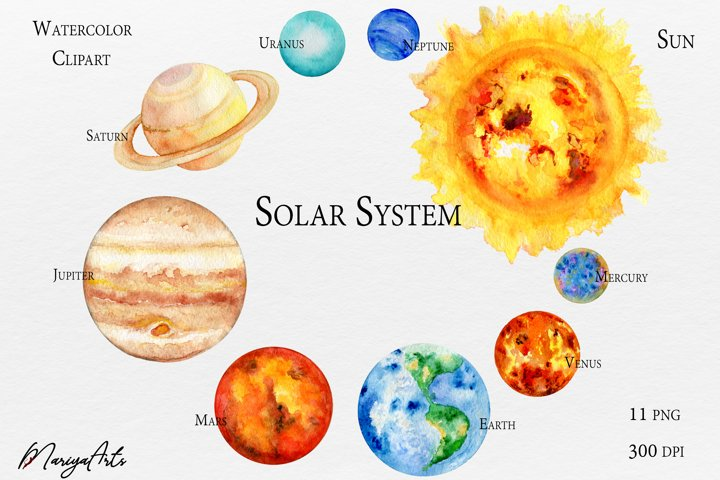 Solar System, Planets Watercolor Clipart, Sun, Earth, Moon