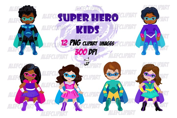 Superhero Kids Clipart , Supergirl, Superboy.