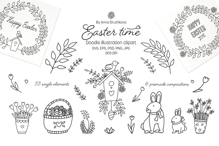 Easter time doodle clipart