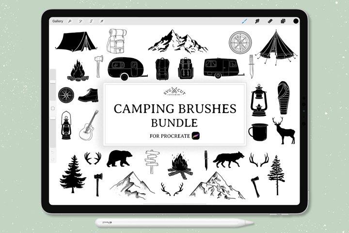 Procreate Stamp Brushes - set of 73 Camping Brushes