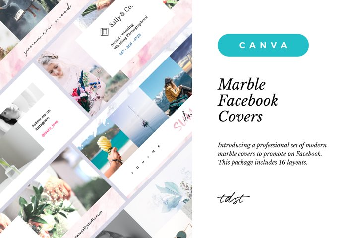 Canva - Marble Facebook Cover Pack