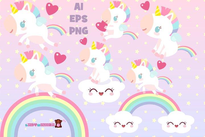Magic Unicorn and Rainbow