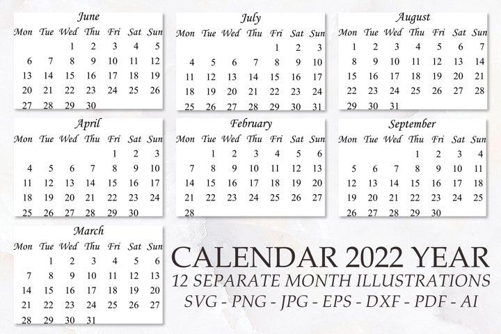 Calendar 2022 year svg, png files and other. 12 month