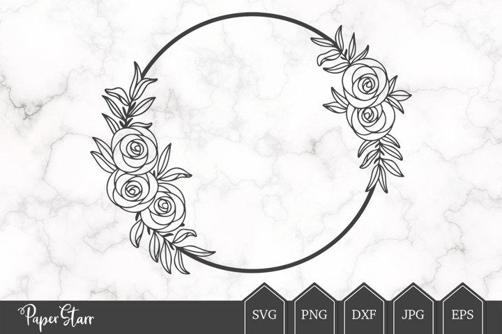 Rose Floral Wreath SVG Cut File