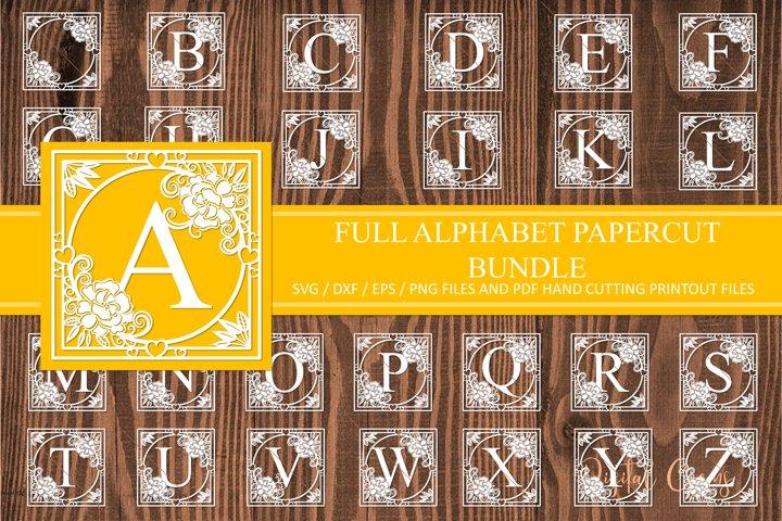 Full alphabet paper cut Bundle. SVG / DXF / EPS files