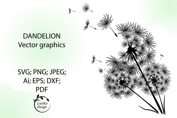 Dandelion SVG, PNG, JPG, EPS, PDF, Ai. Clip art flower