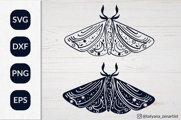 Silhouette Luna moth SVG for baby design. Magic Linear Moth