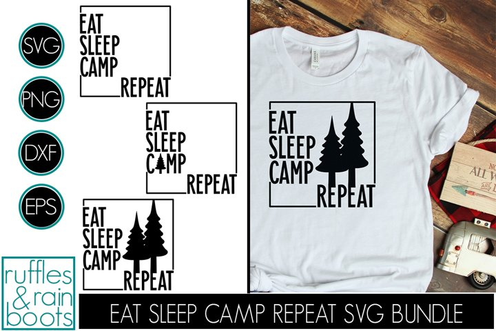 Eat Sleep Camp Repeat SVG in Block Style with Square Outline