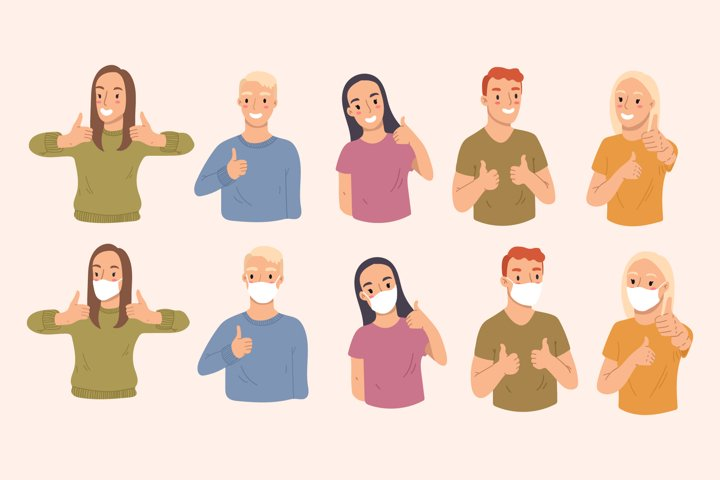 Vector bundle of people showing thumbs up