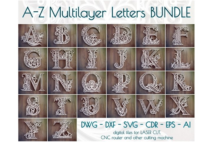 A-Z Layered Letters Bundle, Alphabet letters Bundle